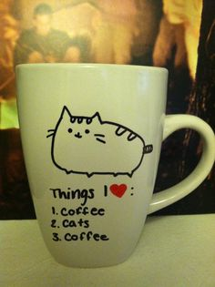 """Only mine should say, """"Clint, Cats and Coffee"""" ETSY  cute kitty coffee cup"""