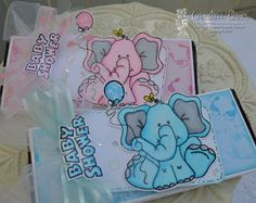 "High Hopes Stamps Baby Shower Candy Wrappers by Carolina using New Baby Boom Release "" Baby Elephant Celebrate"" (SS020), ""Baby Shower"" (HH026)"