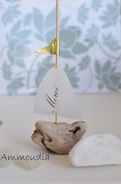 Mariage personnalisé faveurs-Merci lieu personnalisée cartes cartes - voilier bois flotté avec voile imprimé et de mariage de plage-Pavillon...