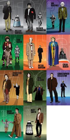 """Doctor Who - The 11 Doctors - 6 x 4"""" Set of Prints. $25.99, via Etsy."""
