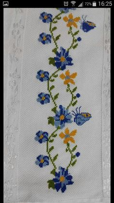 This Pin was discovered by Azr Butterfly Cross Stitch, Cross Stitch Borders, Cross Stitch Flowers, Cross Stitch Charts, Cross Stitch Designs, Cross Stitch Patterns, Embroidery Stitches Tutorial, Embroidery Motifs, Cross Stitch Embroidery