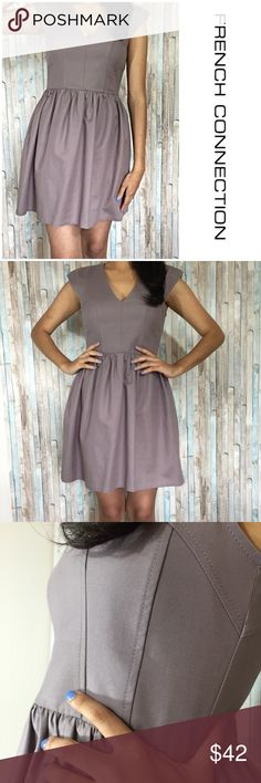 Rosalind Drape structured Dress Dreamy gray Pouf dress, wonderfully structured with a deep V neck. 98% cotton 2% Elastin. French Connection Dresses Midi