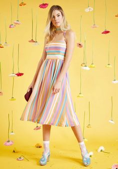 With your bubbly brio and this colorful midi dress, your cheer travels far! Part of our ModCloth namesake label, this brilliant frock flaunts halter straps, princess seams, and pastel stripes, all of which pair with pockets to offer a uniquely crafted look that leaves everyone in smiles.