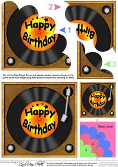 Birthday Record Shell Edged Corner side stacker on Craftsuprint designed by Carol Clarke - A lovely fun Vinyl Record with greeting on a record player. A great retro gramophone design which is great for young and old alike. A lovely Quick Card with an easy to make Shell Edged Pyramage Card topper Each of the layers is numbered and is added in turn to the base layer to create a design that creates a stunning 3d decoupage design.