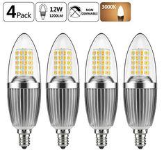 GEZEE  LED Candelabra Bulb, Non-Dimmable 100-Watt Light Bulbs Equivalent, 12W LED Candle Bulbs,Warm White 3000K Chandelier Bulbs, E12 Candelabra Base, 120V, 1200Lumens, Torpedo Shape(4 Pack) #GEZEE #Candelabra #Bulb, #Dimmable #Watt #Light #Bulbs #Equivalent, #Candle #Bulbs,Warm #White #Chandelier #Bulbs, #Base, #Lumens, #Torpedo #Shape( #Pack)