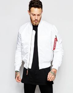 Alpha+Industries+Bomber+Jacket+with+Insulation+Slim+Fit+In+White