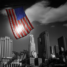 American flag in black and white Downtown LA Skylines