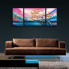 Elegant designed 3-panel Giclee high-resolution canvas print with Floral in Abstract style. It is available in numerous sizes to fit any size room!