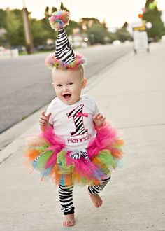 First birthday outfit bright zebra by AlexaNoelBoutique on Etsy, $60.00