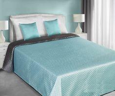 Tyrkysovo sivé saténové prehozy obojstranné na posteľ so vzorom