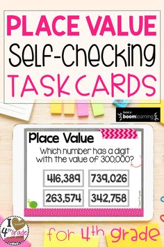 Place Value Activities | 4th grade Place Value |  4th grade math | place value 4th grade | place value games | place value lesson | Assess student understanding of place value skills with self-checking digital task cards hosted on Boom Learning. #boomcards #4thgrade #placevalue #math
