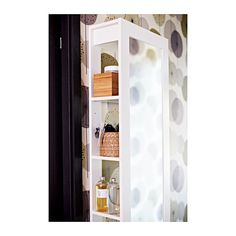 BRIMNES Mirror with storage IKEA Safety film  reduces damage if glass is broken.