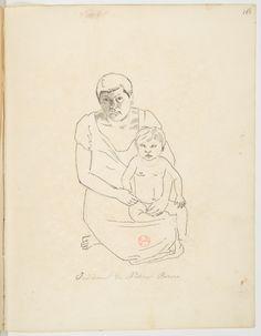 FLORENCE, Hercule -  Indienne de Nation Bororo [Desenho do Carnet de dessins] - [1827] - Nanquim, aguada e grafite sobre papel - 19,3 x 24,7 cm - Coleção Bibliothèque Nationale de France (Paris)