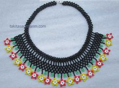 Making Flower Necklace - Huichol Beading Mexcian Bracelet or Necklage, Mexican Bead Network Model Bracelet or Necklace Makin - Ruby Earrings, Amber Jewelry, Old Jewelry, Jewelry Armoire, Beaded Jewelry, Handmade Jewelry, Jewelry Making, Jewelry Ideas, Diamond Jewelry