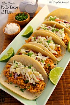 Slow Cooker Pollo Tacos al Pastor - The Complete Savorist Healthy Family Dinners, Clean Eating Recipes For Dinner, Healthy Dinner Recipes, Mexican Food Recipes, Diabetic Meals, Skinny Recipes, Family Recipes, Yummy Recipes, Healthy Crockpot Recipes