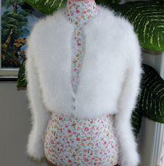 Reserved/Custom listing for Jennifer/Handmade very FLUFFY Kate Middleton Angora Shrug / Bolero hand knitted/ Will fit size Small