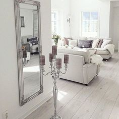 Love the white washed floors Coastal Living Rooms, Condo Living, Home And Living, Living Room Decor, Living Spaces, Contemporary Living Room Furniture, White Furniture, White Washed Floors, Sofa Styling