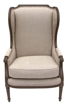 9th century style wingback armchair recovered in a subtle natural linen