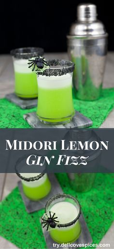 For a Halloween drink recipe idea that actually tastes great, try this Midori Lemon Gin Fizz cocktail. The bright green color of the Midori is elegantly spooky, while the Hawaiian black lava sea salt is a twist on the classic glass rim garnish.  via @dellcovespices