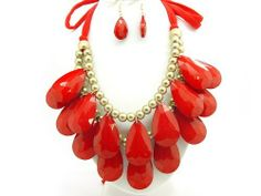 """Bubble BIB 2 Row Tear Drop Huge Chunky Necklace Set - RED COLOR eshop. $19.99. Red color String. String Lenth : 23""""each for adjustable. Length : 9.5""""(bead to bead). Save 59%!"""