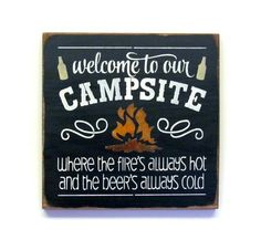 Wooden camping sign ~ Sign for campfire ~ Welcome to the Campsite