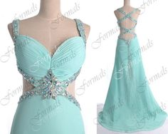 Mint Sexy Prom Dresses, Sexy Formal Dresses, Straps with Crystal Long Chiffon Prom Gown with Cross Back, Sexy Mint Evening Dresses