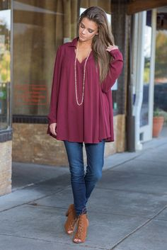 """""""Make Him Wonder Top, Burgundy"""" This top is beautifully blousy and loose! We love the classic collared look paired with the loose boho vibe! It's the best of both worlds! #newarrivals #shopthemint"""