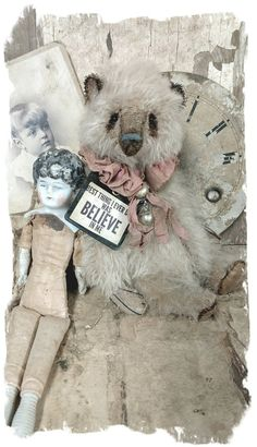 """handmade by artist Wendy Meagher === Approx. 9"""" tall - Antique Classic Style well loved vintage white long hair mohair teddy bear with aged..."""