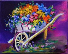 Ode to Purple - Wheelbarrow Flowers - Acrylic Painting Lessons for Beginners to Advanced Artists
