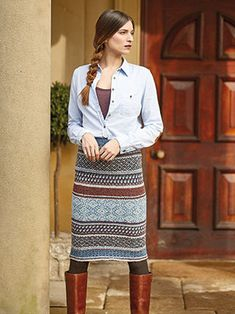 BALFOUR SKIRT from Rowan Knitting and Crochet Magazine No. 60 (ZM60). Featuring 2 Stories Tempest & Felted Tweed | English Yarns