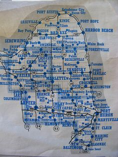 Map of Michigan's Thumb. True Thumb folks would probably change this map to include Tuscola, Sanilac, and Huron Counties only.