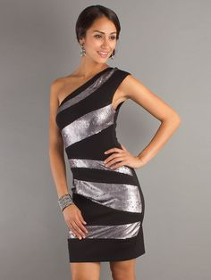 One-Shoulder Black Sleeveless Chiffon and Sequined Cocktail Dress - http://www.vudress.com/