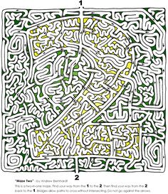 Here's another new maze. This one is a bit harder than the previous, and it's the first of it's kind. Instead of a normal start and finish, there are two openings labeled '1' and '2. First, find your way from … Continue reading →