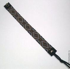 Купить Браслет из бисера - Браслет ручной работы, браслет из бисера, замша натуральная, замша итальянская