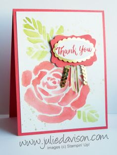 Stampin' Up! Rose Wonder Thank You Card: Use AquaPainter to watercolor with Rose Garden die cut #stampinup Occasions Catalog www.juliedavison.com