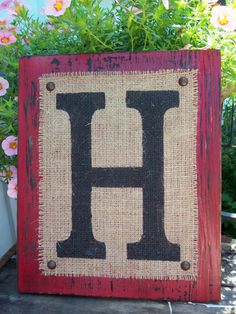 BURLAP MONOGRAM sign Personalized any letter A-Z, Initials, Name letters, Vintage Style, 12x10.