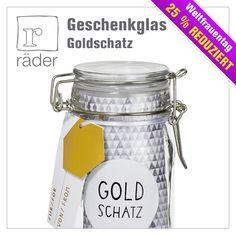 """Das #Geschenkglas """"Goldschatz"""" von #RäderDesign ist das ideale #Geschenk zum #Weltfrauentag, oder einfach nur so um Ihrem Partner, Ihrer besten Freundin, Mama oder Oma eine kleine Freude zu machen."""