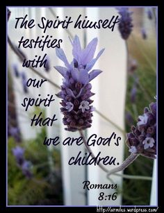 """""""The Spirit himself testifies with our spirit that we are God's children.""""  Romans 8:16"""