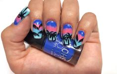 Palm trees at sunset nail art design. Inspired by a photograph by Andrew Shield.