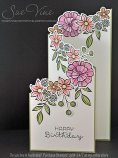 Sue Vine | MissPinksCraftSpot | Stampin' Up!® Australia Order Online 24/7 |Falling Flowers | May Flowers Framelits |Handmade Card #stampinup #fallingflowers #mayflowers