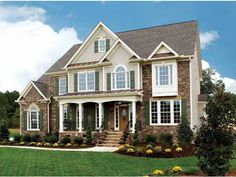 French Country House Plan with 2840 Square Feet and 4 Bedrooms Traditional House Plans, Traditional Exterior, Country House Plans, French Country House, Country Style, Exterior House Colors, Exterior Design, Exterior Tradicional, American Houses