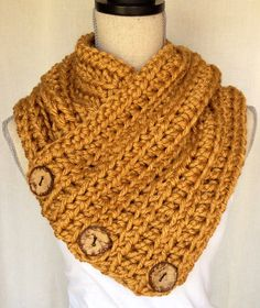 Crochet Cowl Neck Warmer Scarf - Chunky Mustard Yarn with Coconut Buttons on Etsy, $55.00 CAD