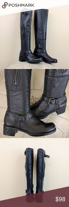 """Anthropology Lucky Penny Black Leather Moto/Riding Black Leather Over the Knee Equestrian Boots w a Side ZIPPER which also serves as a hidden pocket and side buckles.  SUPER SOFT LAMBSKIN FEEL GENUINE LEATHER.  NON SKID AND STATIC FREE RUBBER SOLES. INSIDE HALF ZIP FOR EASY ON/OFF.  Elastic and adjustable buckle for some calf stretch. Very rare and well made.  THESE FIT TRUE TO SIZE  GENTLY USED CONDITION, WORN JUST A COUPLE OF TIMES.    17.5"""" total boot height.  13"""" calf width (also has…"""