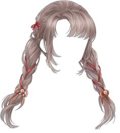 Smell with Ring could be obtained from a Log-in Event and can now be bought in the Clothes Store for Two braids with red ribbon. Anime Girl Hairstyles, Pretty Hairstyles, Braided Hairstyles, Anime Braids, How To Draw Anime Hair, Katana Girl, Lolita Hair, Pelo Anime, Drawing Anime Clothes