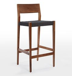 Bayley Bar Stool. Bar stool. Shaker inspired furniture. Woven seat. Stool with woven rope seat. Walnut chair. Oak chair.
