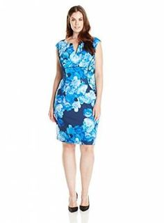 f88ddb84c834 Adrianna Papell Women's Plus-Size Cap Sleeve Floral Printed V Neck Sheath  Dress, Blue/Multi,