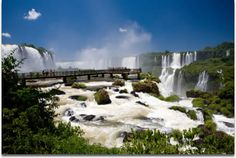 Image of the full view of the cascade of Iguazu Falls, Brazilian side.