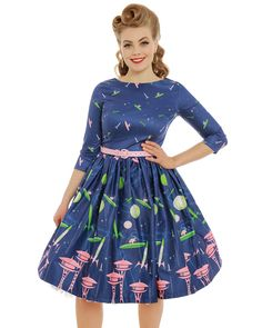 57a31069fbe2 Holly' Space Dog Print Blue Swing Dress Swing Dress, Dog Cat, February,