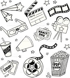 Movie Doodles royalty-free stock vector art