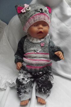 Oblečky pro panenku - komplet  s Mourkem Bitty Baby, Baby Born, Knitted Dolls, Cute Dolls, Crochet For Kids, Kids And Parenting, Doll Clothes, Baby Kids, Knitting